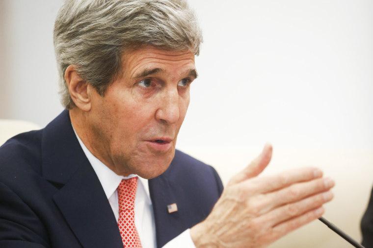 U.S. Secretary of State John Kerry gestures as he speaks in Beijing, Feb. 14, 2014.
