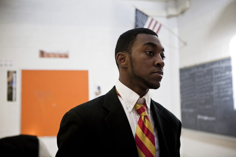 A student at Urban Prep Academy for Young Men in Englewood, Illinois.
