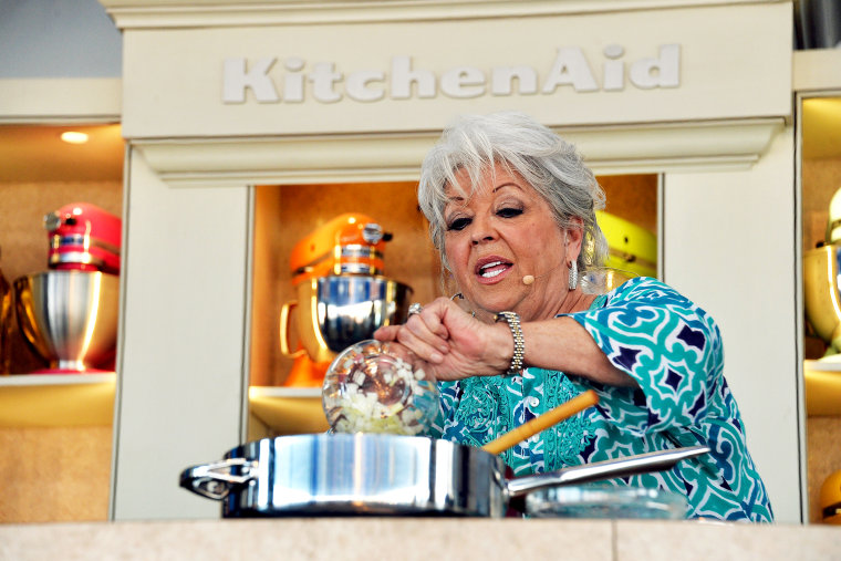 Chef Paula Deen attends a cooking demonstration in Miami Beach, Feb. 23, 2014.