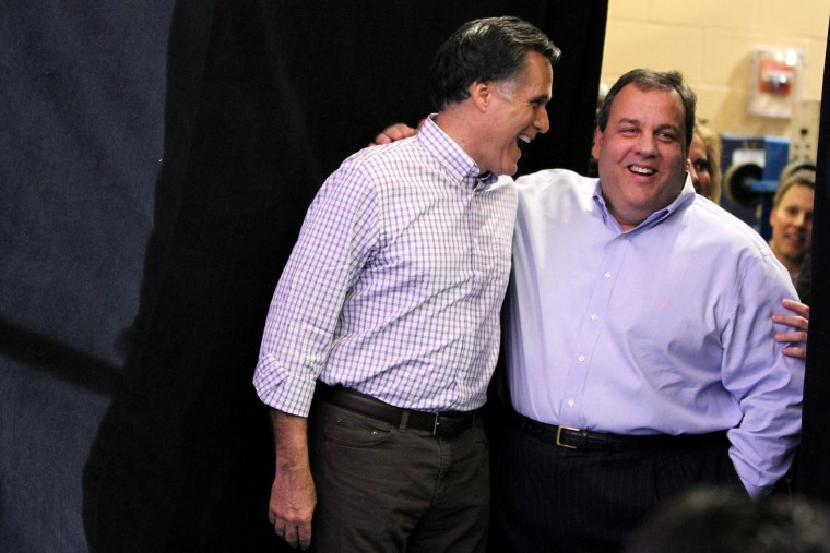 Republican Presidential candidate Mitt Romney campaigns in New Hampshire with NJ governor Chris Christie in 2012.