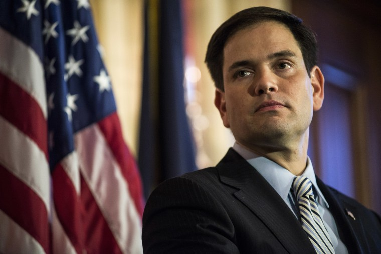 Sen. Marco Rubio discusses reforming antipoverty programs at the Capitol in Washington, Jan. 8, 2014.