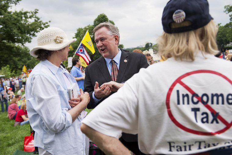 Rep. Steve Stockman speaks with supporters during a Tea Party Patriots rally on the west front of the Capitol, June 19, 2013.
