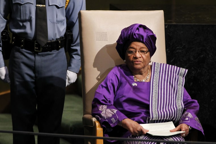 President of Liberia, Ellen Johnson-Sirleaf, waits to address the 67th session of the United Nations General Assembly at U.N. headquarters.