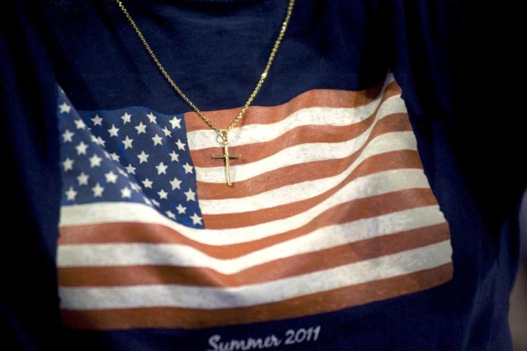 An American flag t-shirt.