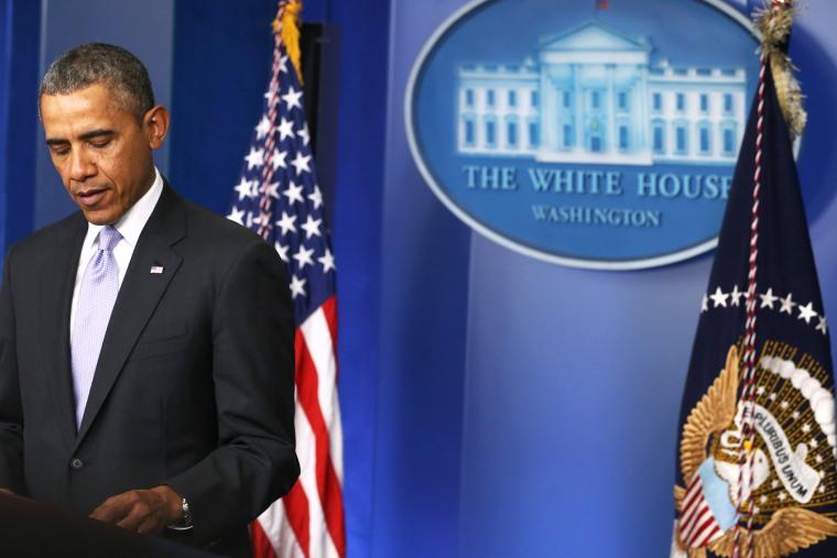 U.S. President Barack Obama speaks about the crisis in Ukraine, February 28, 2014.