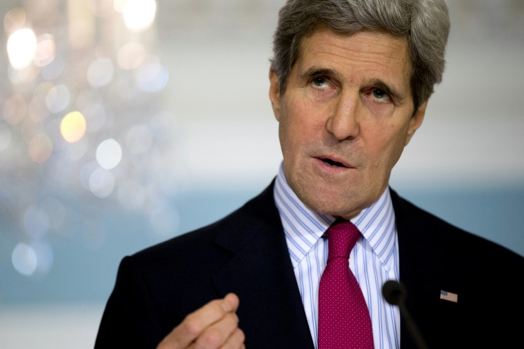 Secretary of State John Kerry gestures as he speaks during a news conference, Feb. 28, 2014 in Washington.