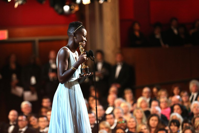 "Lupita Nyong'o speaks after winning best supporting actress for her role in ""12 Years a Slave"", at the 86th Academy Awards, March 2, 2014, in Los Angeles, Calif."