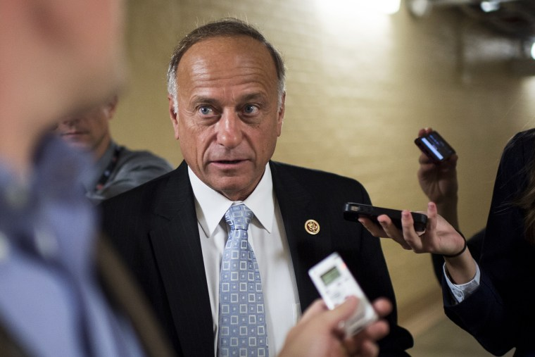 Rep. Steve King speaks with reporters as he leaves the House Republican Conference meeting, Oct. 4, 2013.