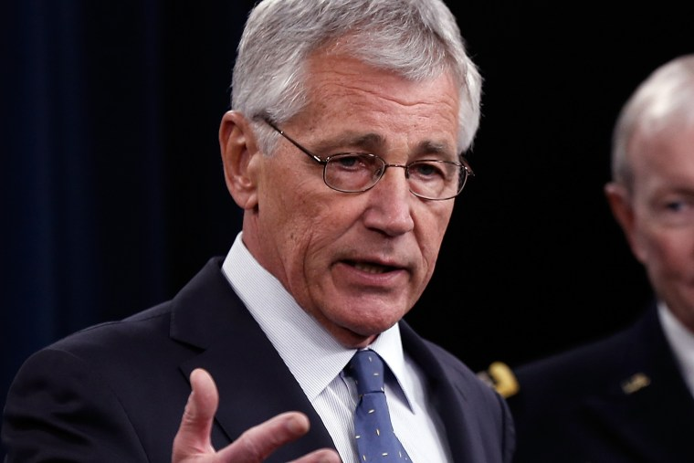 U.S. Secretary of Defense Chuck Hagel answers questions during a press conference at the Pentagon on Feb. 24, 2014 in Arlington, Va.