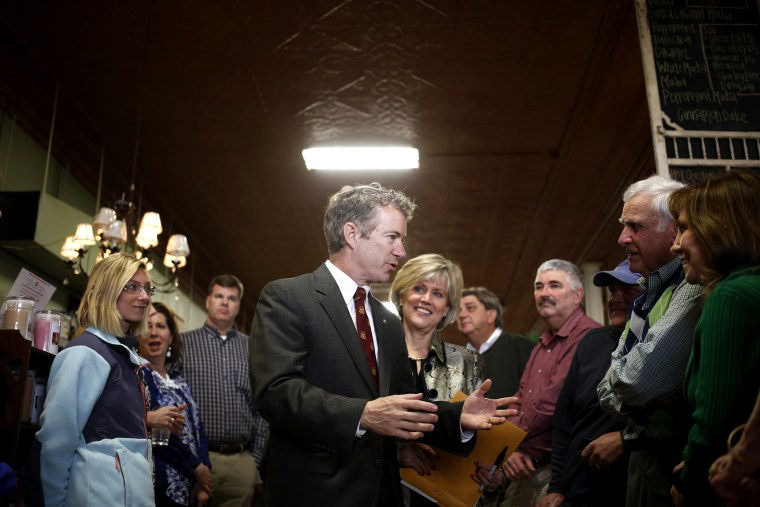 Senator Rand Paul (R-KY) greets constituents during an event at the Harvest Coffee and Cafe coffee shop on Feb. 19, 2014 in Shelbyville, Ky.