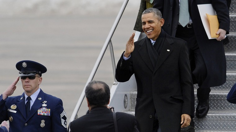 President Obama arrives in East Granby, Conn., to talk about increasing the federal minimum wage, March 5, 2014.