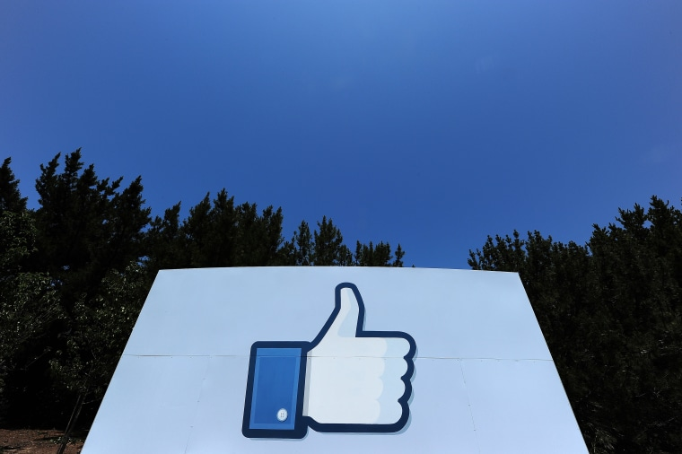 """A """"Like"""" icon at the Facebook main campus in Menlo Park, California."""