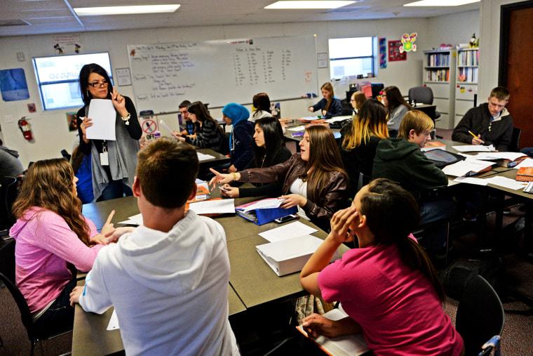 High school students in class at Prairie View High School, in Henderson, Colorado, Jan. 15, 2014.