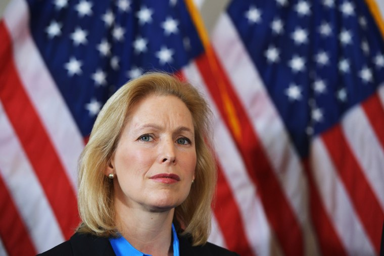 Senator Kirsten Gillibrand attends a press conference calling for the creation of an independent military justice system to deal with sexual harassment and assault in the military, Feb. 6, 2014.