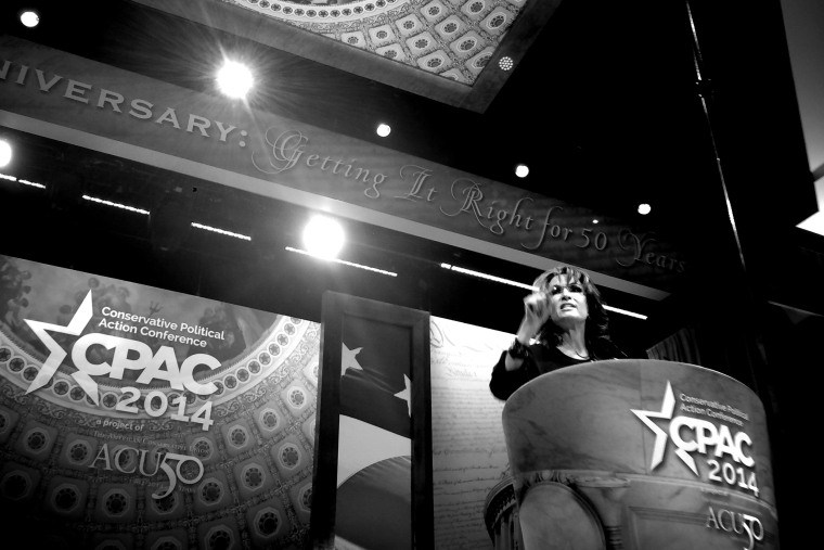 Sarah Palin, former Alaska Governor and 2008 Republican vice presidential nominee, speaks at the Conservative Political Action Conference, March 8, 2014, in National Harbor, Md.