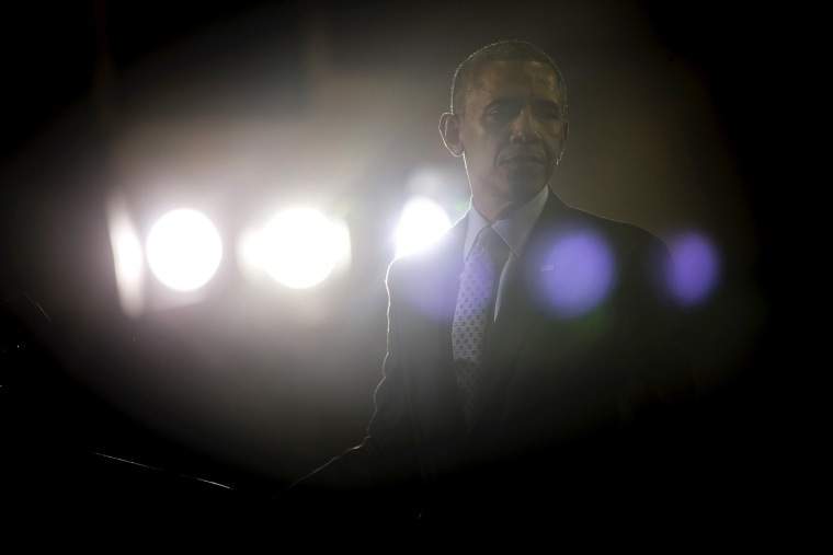 President Barack Obama walks away from his podium after speaks at an event, March 5, 2014, in New Britain, Conn.