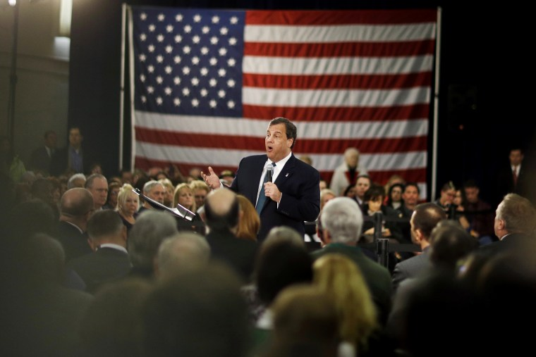 New Jersey Gov. Chris Christie addresses a gathering at a town hall meeting, Feb. 26, 2014, in Long Hill, N.J.