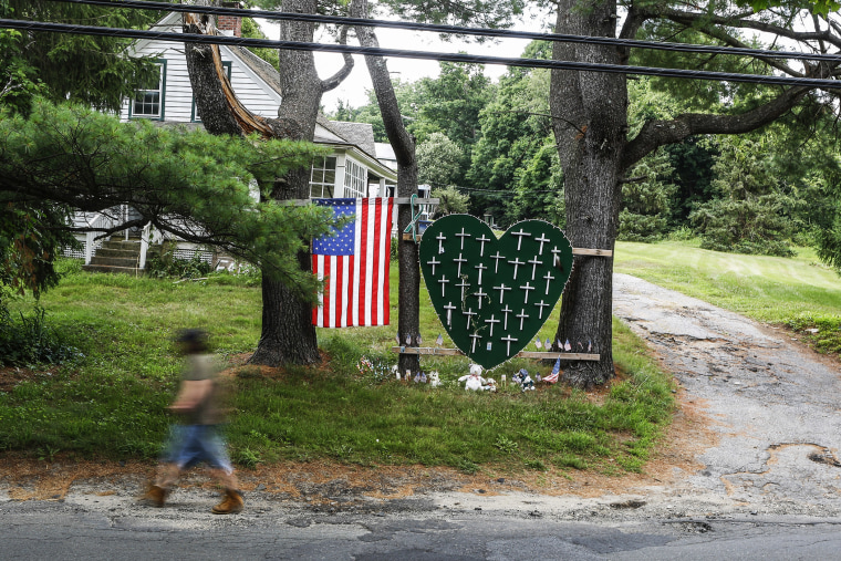 A makeshift memorial for those killed in the Dec. 14, 2012 shooting at Sandy Hook Elementary School, in New Town, Conn., July 5, 2013.