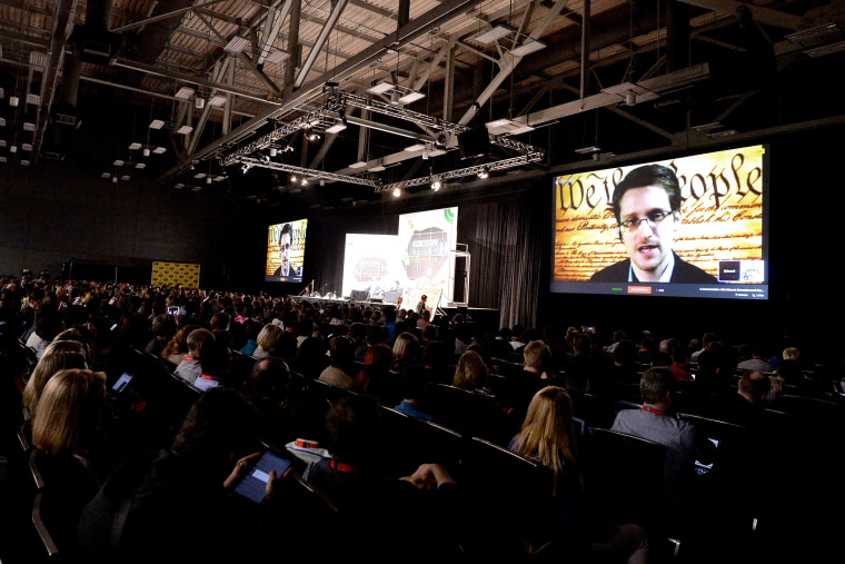 Edward Snowden speaks via videoconference at the 2014 SXSW Music, Film + Interactive Festival at the Austin Convention Center on March 10, 2014 in Austin, Texas.