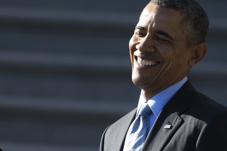 President Obama smiles during an event on the South Lawn of the White House, March 10, 2014.