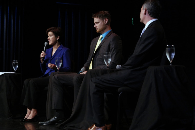 From left, Democrat Alex Sink, Libertarian Lucas Overby and Republican David Jolly, all candidates for Florida's congressional District 13, participate in a candidate forum in Clearwater, Fla, on Feb. 25, 2014.