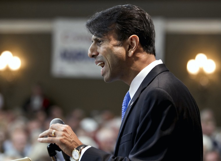 Louisiana Gov. Bobby Jindal addresses the Nebraska Republican Convention in Grand Island, Neb., Saturday, July 14, 2012.