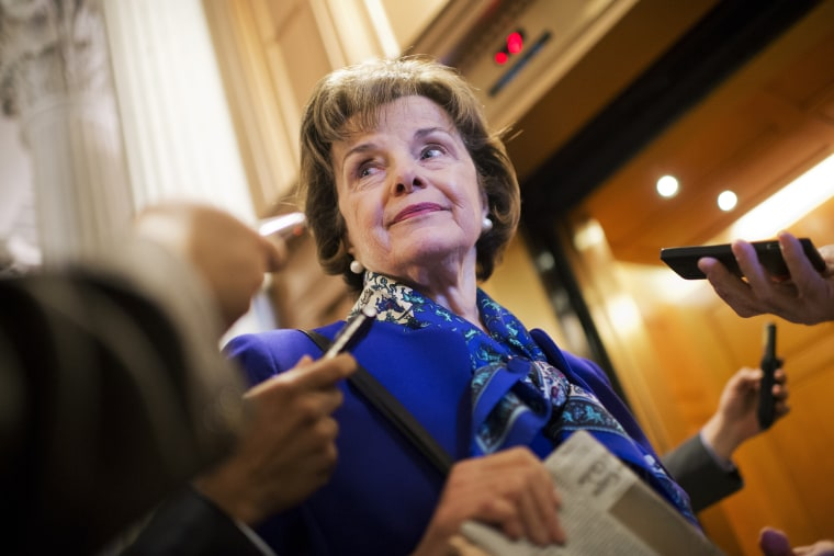 Sen. Dianne Feinstein speaks with reporters after a speech on the Senate floor that accused the CIA of searching computers set up for Congressional staff for their research of interrogation programs, Mar. 11, 2014.