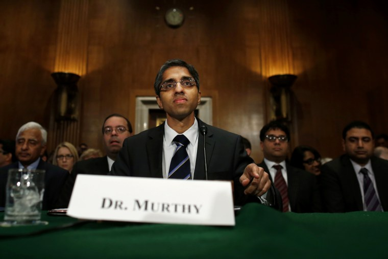 Dr. Vivek Hallegere Murthy, President Barack Obama's nominee to be the next U.S. Surgeon General, prepares to testify on Capitol Hill, Feb. 4, 2014.