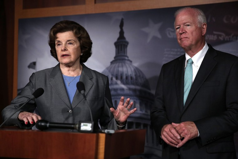 Chairman and Vice Chairman of the U.S. Senate Select Committee on Intelligence, Sen. Dianne Feinstein (D-CA) and U.S. Sen. Saxby Chambliss (R-GA) on Capitol Hill in Washington, D.C., June 6, 2013.