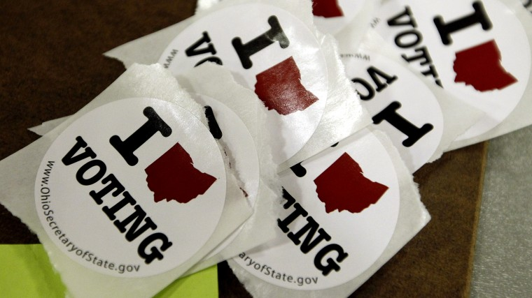 Voting stickers are seen at the Ohio Union during the U.S. presidential election at The Ohio State University in Columbus, Ohio November 6, 2012.