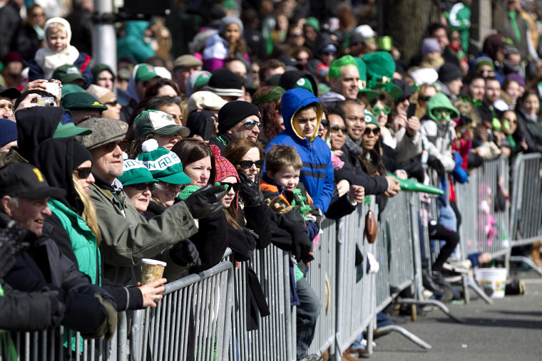 The crowd watches the Annual St. Patricks Day Parade in Boston, Mass., March 17, 2013.