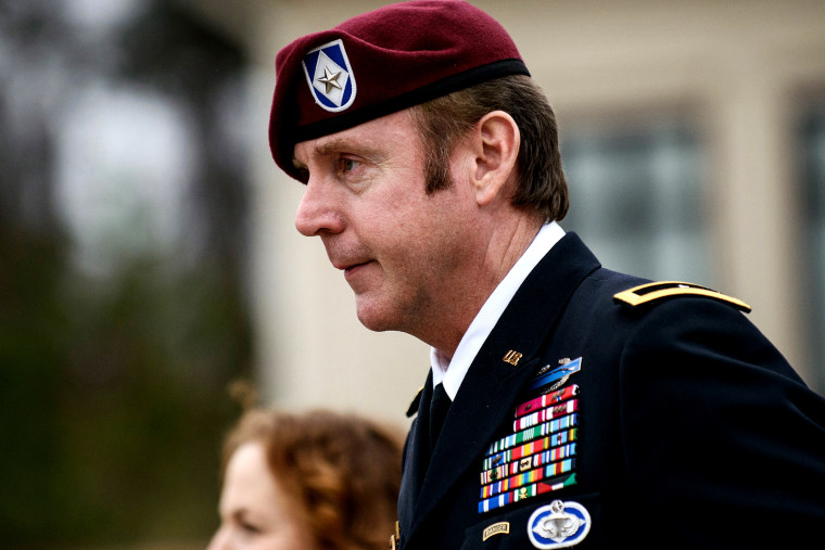 Brig. Gen. Jeffrey Sinclair leaves the courthouse following a day of motions, March 4, 2014, at Fort Bragg, N.C.