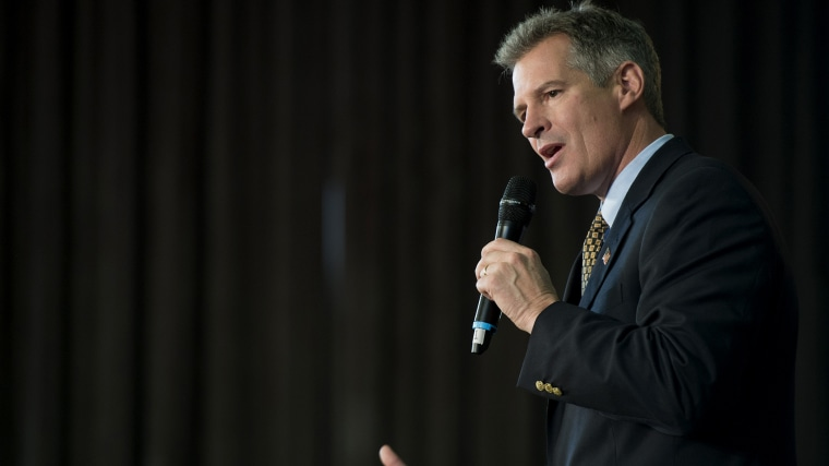 Sen. Scott Brown, R-Mass., speaks at a rally in Cumnock Hall at the University of Massachusetts Lowell campus in Lowell, Mass.