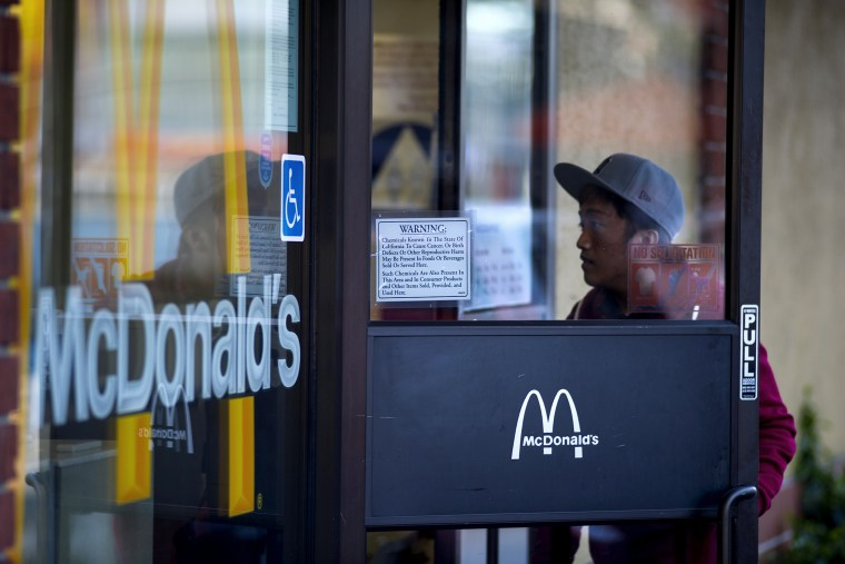 A customer enters a McDonald's Corp. restaurant in San Francisco, Calif. on Jan. 22, 2014.