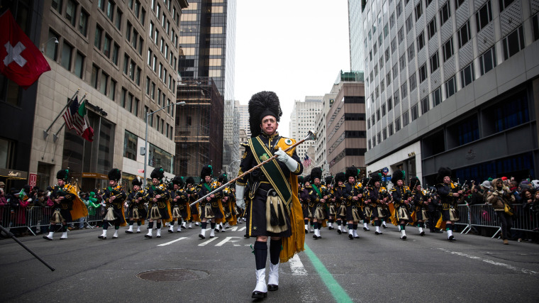Bagpipers march in the annual St. Patrick's Day Parade along Fifth Ave in Manhattan on March 17, 2014 in New York City.