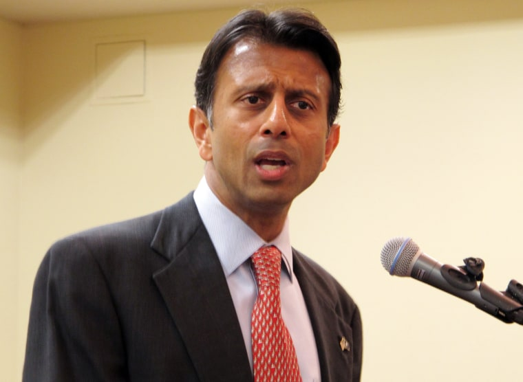 Gov. Bobby Jindal speaks at a meeting of the Baton Rouge Press Club on Wednesday, Jan. 8, 2014, in Baton Rouge, La.