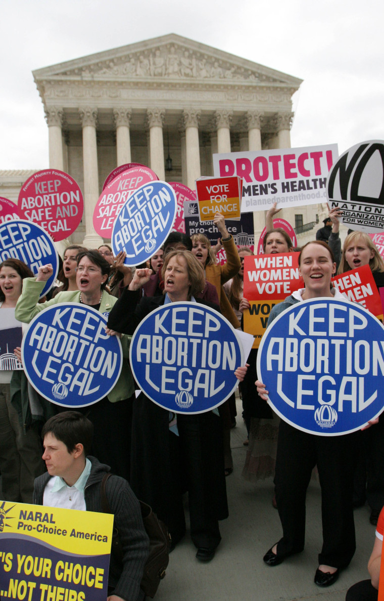 Abortion rights activist take part in a demonstration outside the Supreme Court in Washington, Wednesday, April 18, 2007.