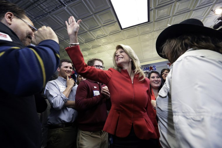 Texas Sen. Wendy Davis greats supporters at her campaign headquarters on March 4, 2014, in Fort Worth, Texas.