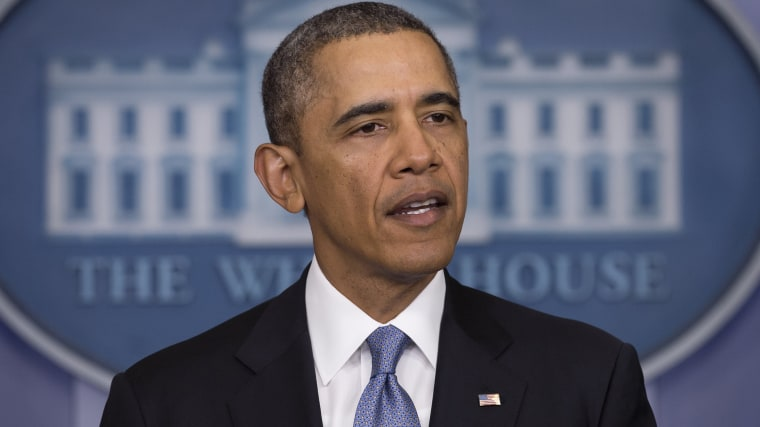 US President Barack Obama speaks in the Brady Press Briefing Room of the White House in Washington, DC, March 17, 2014.