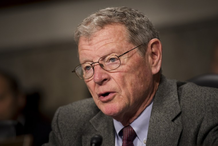 Senator James Inhofe, R-OK, ranking member of the Senate Armed Services Committee, speaks during a hearing on March 13, 2014 on Capitol Hill in Washington, D.C.