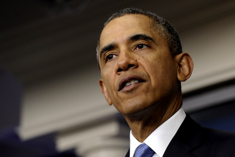 President Barack Obama speaks about Ukraine, March 17, 2014, in the James Brady Press Briefing Room at the White House in Washington.