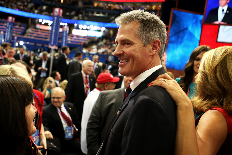 Sen. Scott Brown (R-MA) attends the final day of the Republican National Convention, Aug. 30, 2012, in Tampa, Fla.