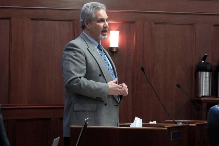 Alaska State Sen. Pete Kelly, R-Fairbanks, speaks on the floor of the Alaska Senate on Feb. 7, 2014, in Juneau, Alaska.
