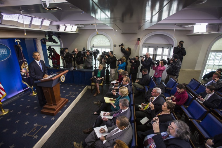President Barack Obama delivers a statement in the press briefing room of the White House in Washington, D.C., March 17, 2014.
