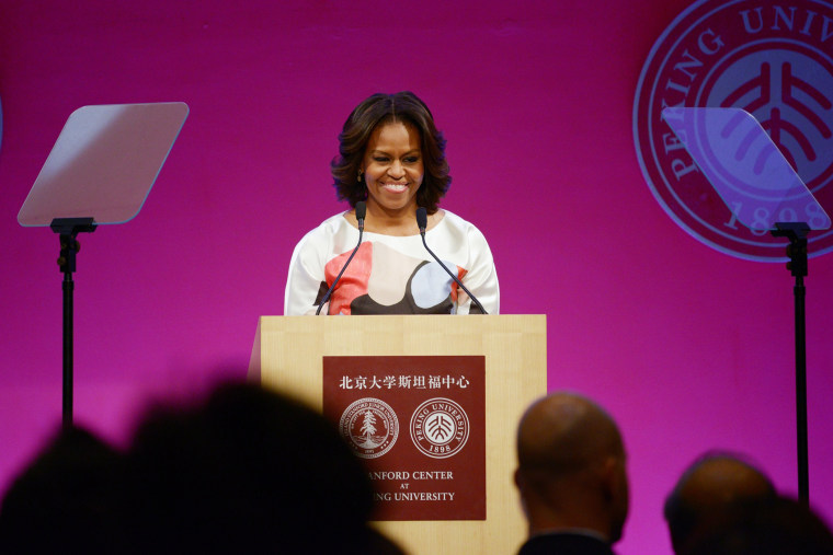 First Lady Michelle Obama delivers a speech at the Stanford Center at Peking University, March 22, 2104 in Beijing, China.
