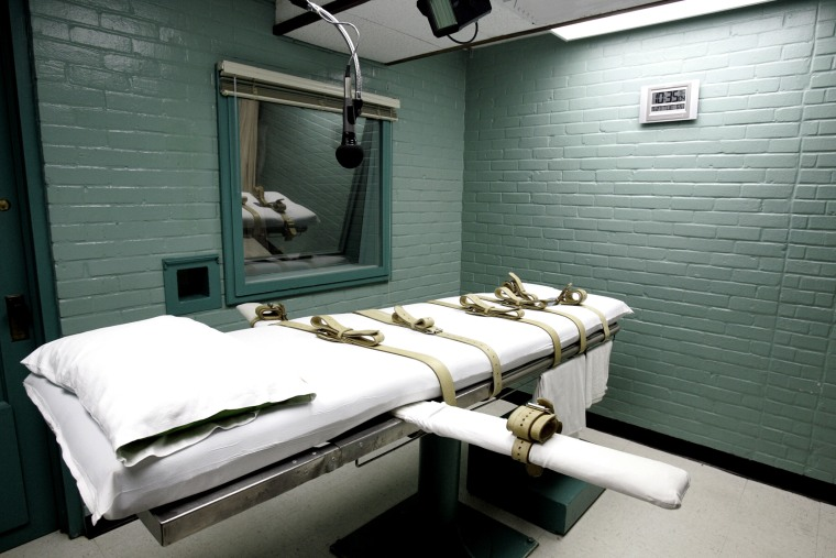 The gurney in the death chamber in Huntsville, Texas.