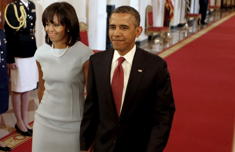 U.S. President Barack Obama and First Lady Michelle Obama at the White House in Washington on April 11, 2013.