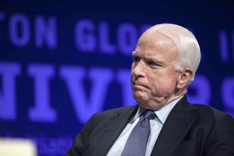 Arizona Senator John McCain at Arizona State University in Tempe, Arizona, March 21, 2014.