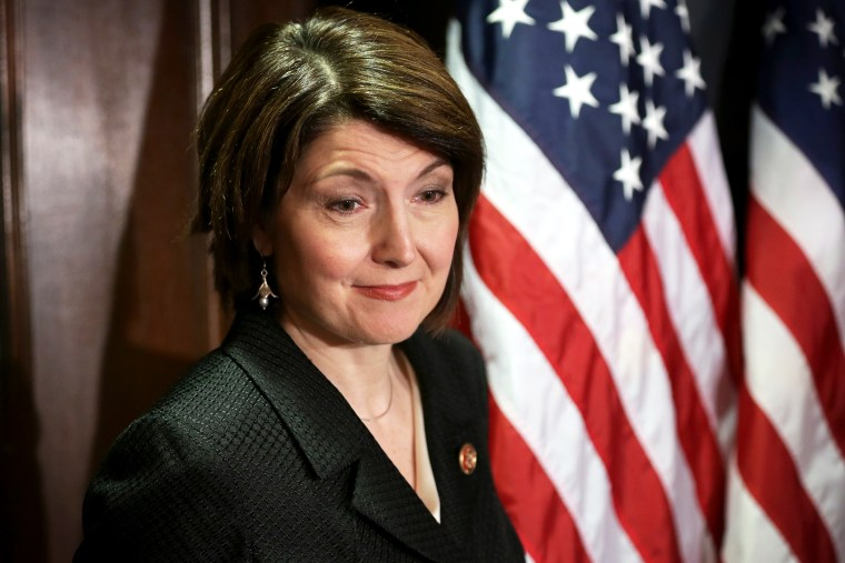 U.S. House Republican Conference Chairman Rep. Cathy McMorris Rodgers listens during a briefing, Mar. 5, 2014.