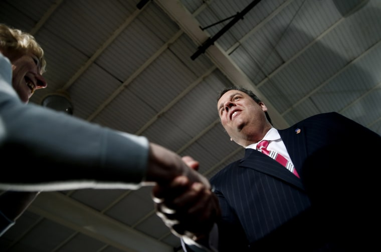 New Jersey Governor Chris Christie speaks to residents of Belmar, New Jersey during a town hall meeting on March 25, 2014.